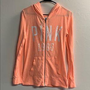 Victoria's Secret PINK lightweight orange hoodie